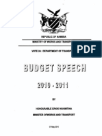 Budget Motivation-Department of Transport