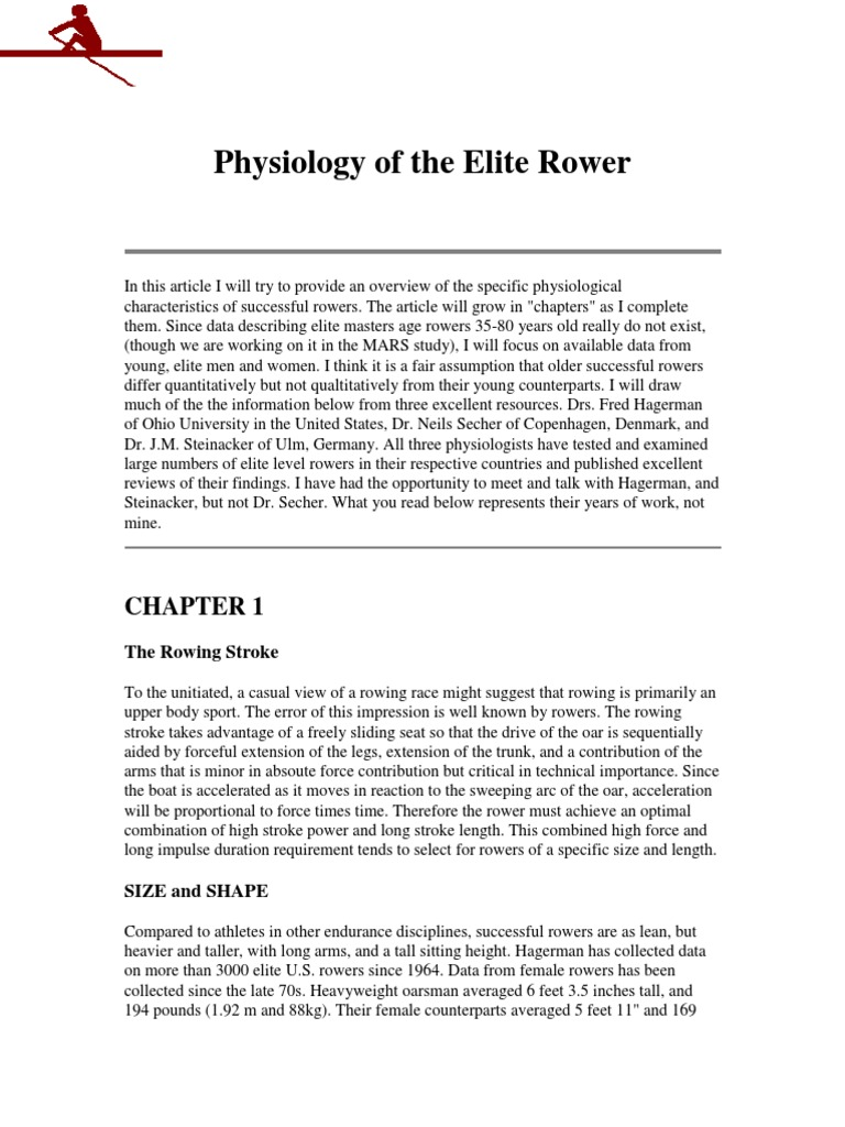 Physiology of the Elite Rower | Rowing (Sport) | Muscle