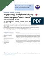 Cambios en Perfil Hemodinamico a Instaurar VM en Pte Con Cardiopatia