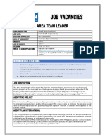 Job Advertisement - Area Team Leader