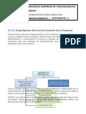 Organigrama Estructural De Una Empresa Distribución