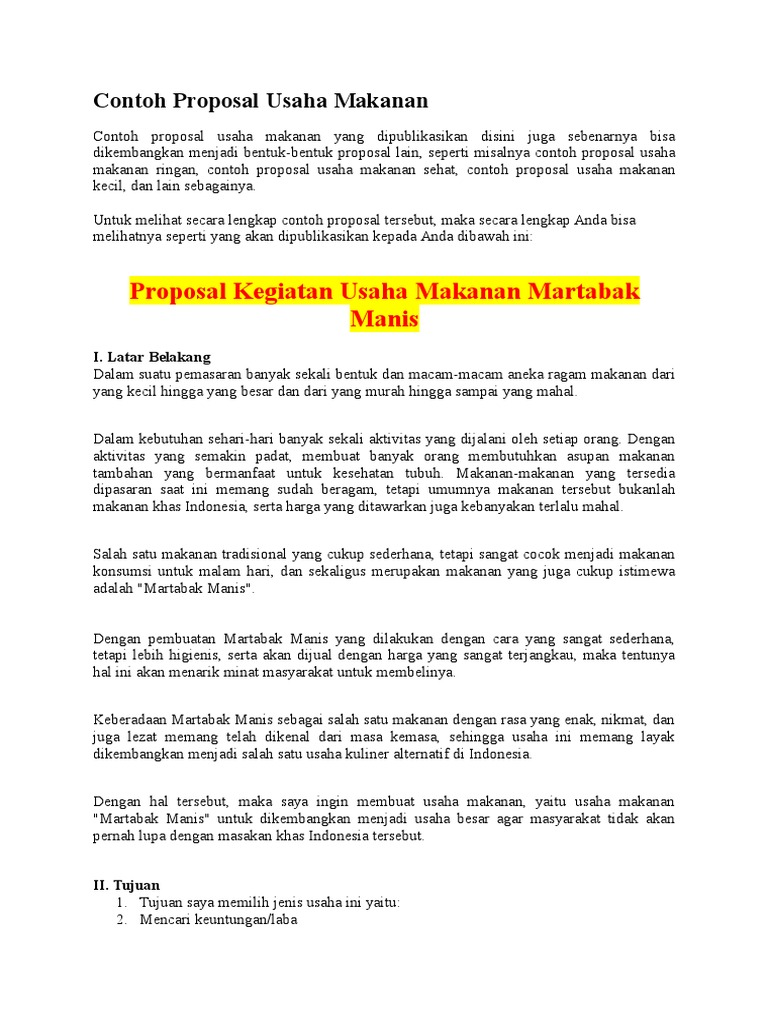 Contoh Proposal Bisnis Makanan Ilmusosial Id
