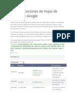 Lista de Funciones de Hojas de Cálculo de Google