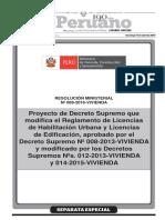 Proyecto de modificación del Reglamento de modificación de licencias de habilitación urbana