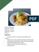 Cooking Workshop Indonesia Recipe