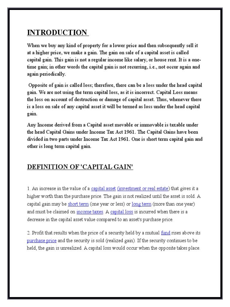 capital gain | capital gains tax | expense