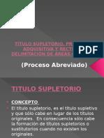 Título Supletorio, Prescripción Adquisitiva y Rectificación o