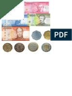 Dinero para Recortar moneda chilena