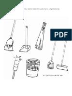 Gunting Dan Tampal Gambar Alatan Kebersihan Pada Kertas Yang Disediakan