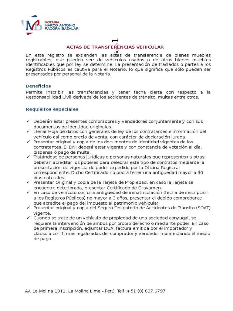 Notaria Pacora Bazalar_requisitos Actas De Transferencias  # Bienes Muebles Vehiculos