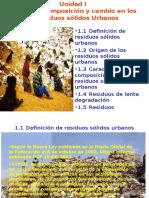 Origen, composición y cambio en los Residuos sólidos Urbanos