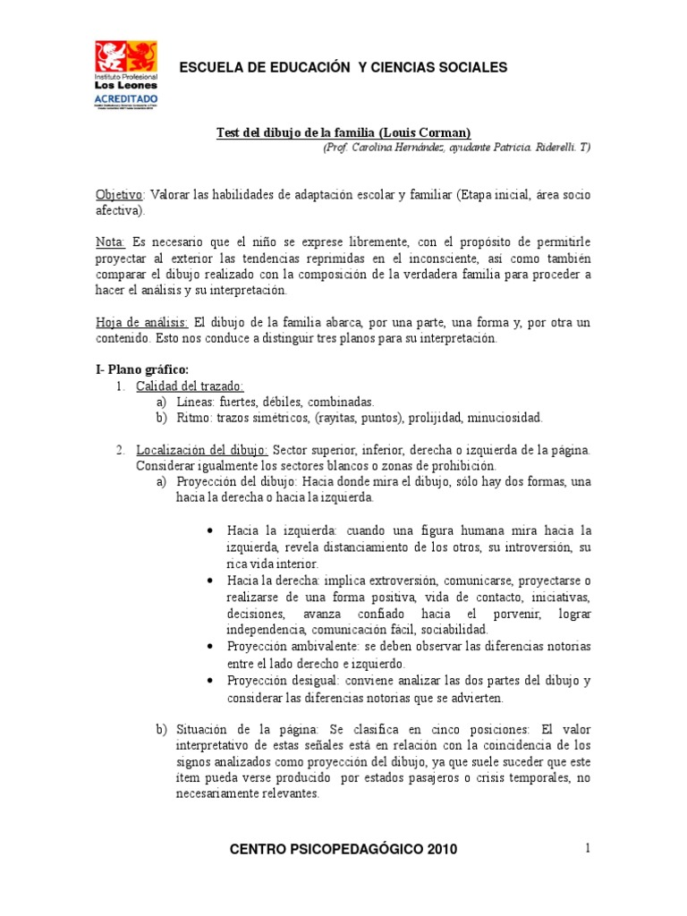 Worksheet. Test de la Familia Cormandoc