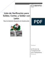 Welding Cutting & Brazing Safety Checklist Spanish