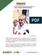 2016-04-26 Tengo Un Proyecto Para Impulsar El Deporte y La Cultura en El Estado- Enrique Serrano.