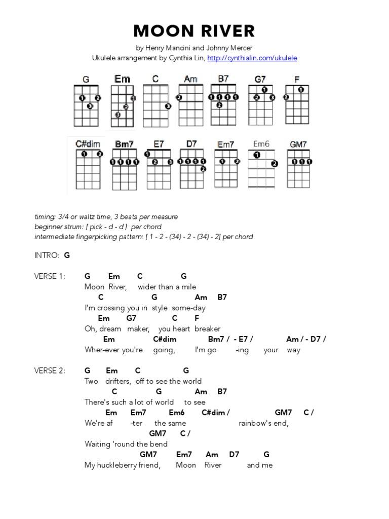 Moon river ukulele chord chart hexwebz Gallery