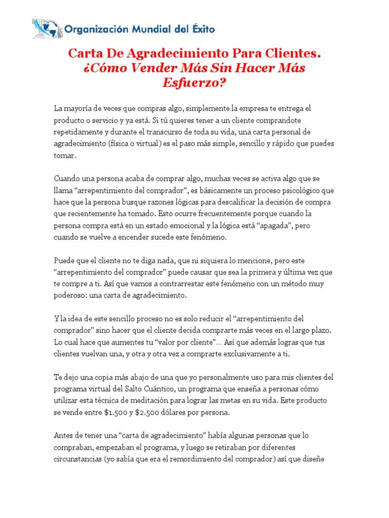 Carta De Agradecimiento Para Clientes Gratitud Cliente