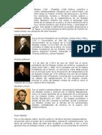 Benjamin Franklin, George Washington, Abrahan Lincoln, Thomas Jefferson