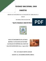 Nivel de Conocimientos en Lactancia Materna y Su Relación Con Factores Culturales en Puérperas Del Puesto de Salud de Huarocondo