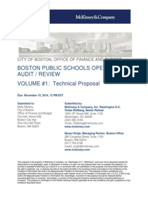 McKinsey Response to RFP | Mc Kinsey & Company | Strategic Management