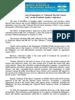 "april27.2016 bBill declaring 4th week of September as ""National Thyroid Cancer Awareness Week"" awaits President Aquino's signature"