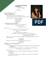 Resume (Christine Joy de Guzman Prestoza)-1(1)