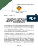 Carta Abierta del Cabildo Interreligioso a la Conferencia Episcopal de Colombia