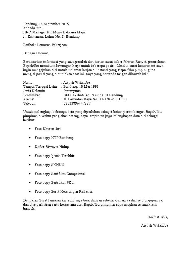 Contoh Surat Lamaran Pekerjaan Di Pt Garmen Bagi Contoh Surat