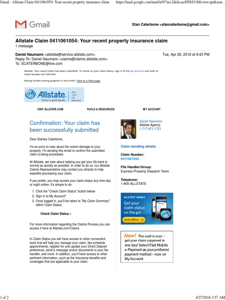 Allstate My Account >> Gmail Allstate Claim 0411061054 Your Recent Property