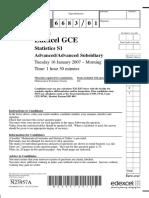 January 2007 QP S1 Edexcel