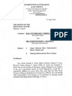 Letter Dated 27 April 2016 to the Office of the Municipal Mayor