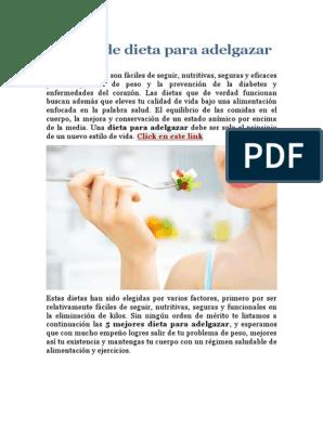 Dietas eficaces y saludables