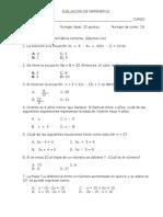 Evaluacion de Matematica Ecuaciones