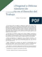 Eficacia Diagonal u Oblicua y Los Estándares de Conducta en El Derecho Del Trabajo