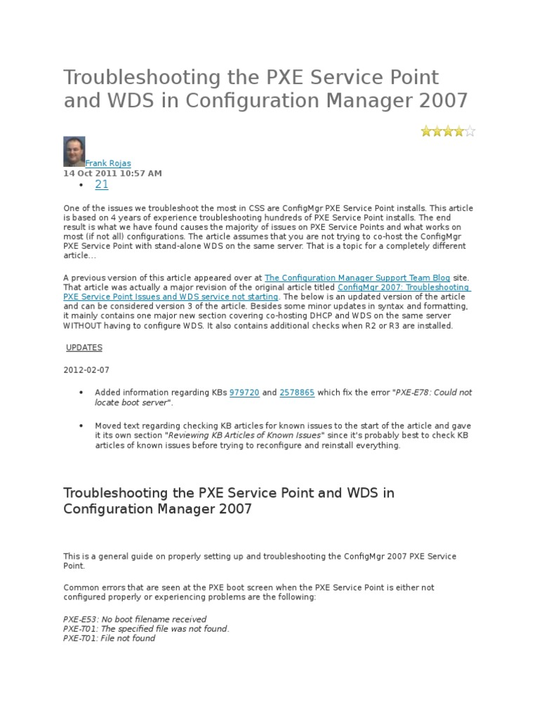 Troubleshooting the PXE Service Point and WDS in Configuration