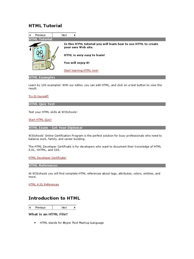 Htmltutorials From W3cschools Html Element Html
