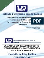 La axiología (valores) como herramienta en la promoción de la Ética Pública.