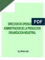 DIRECCION DE OPERACIONES ADMINISTRACION DE LA PRODUCCION ORGANIZACION INDUSTRIAL