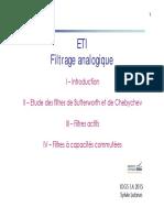 Cours Filtrage Analogique 2015 2016