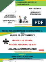 Convocatoria Apoyos de Sostenimiento I-2016
