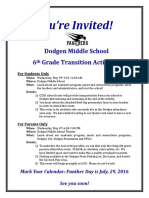 invitation rising 6th grade night 2016