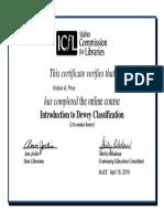 kprice-certificate-icfl intro to dewey decimal system