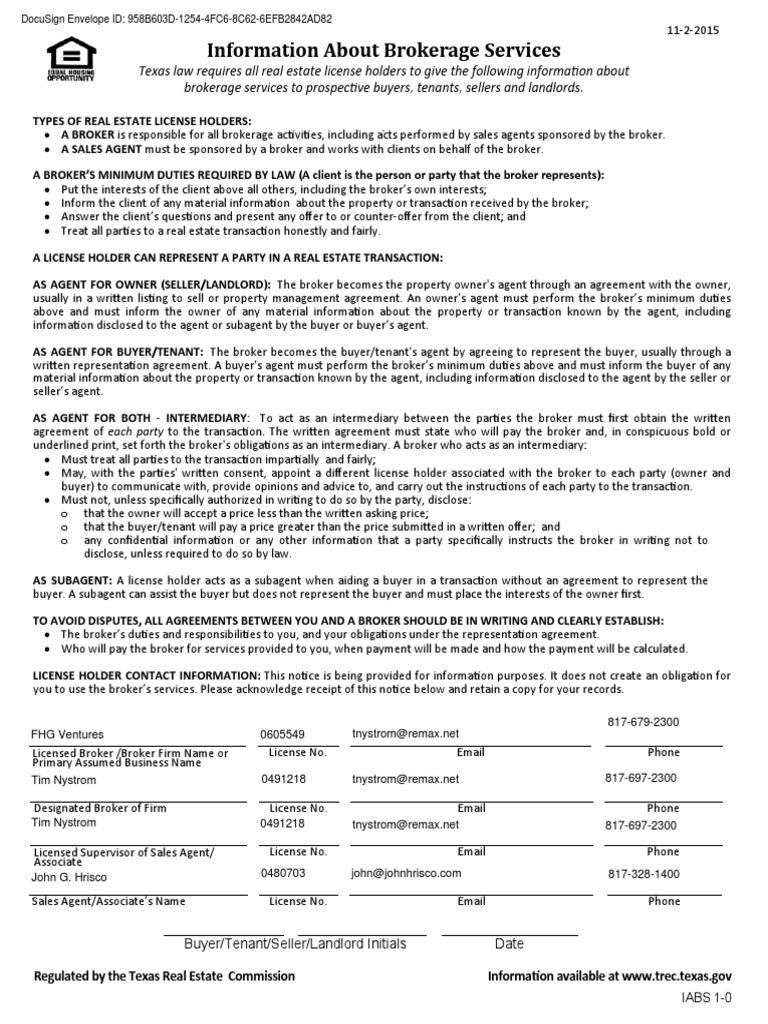 Texas Real Estate Commission Information Broker Services Broker