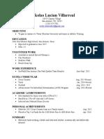 nickolas villarreal resume 2016