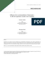 Influence Des Recommandations d'Internautes_ Le Rôle de La Présence Sociale Et de l'Expertise
