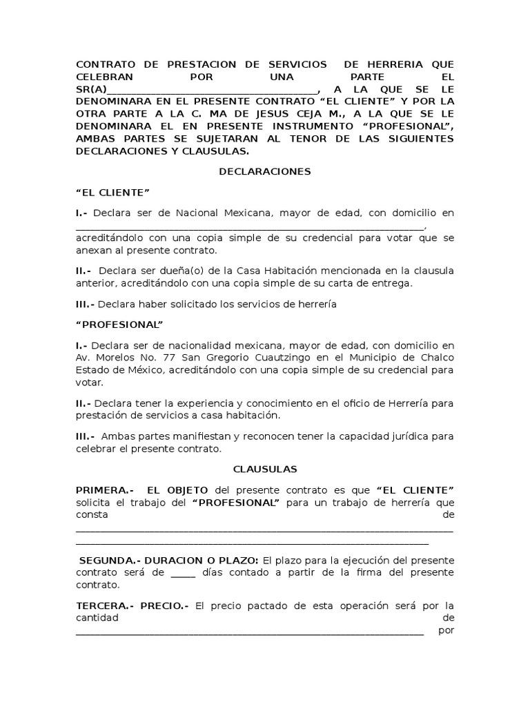 Contrato De Prestacion De Servicios De Herreria