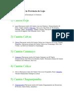 16 Cantones de La Provincia de Loja Y Parroquias Urbanas y Rurales