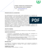 Programación Praxis y Objeto de La Investigación. i