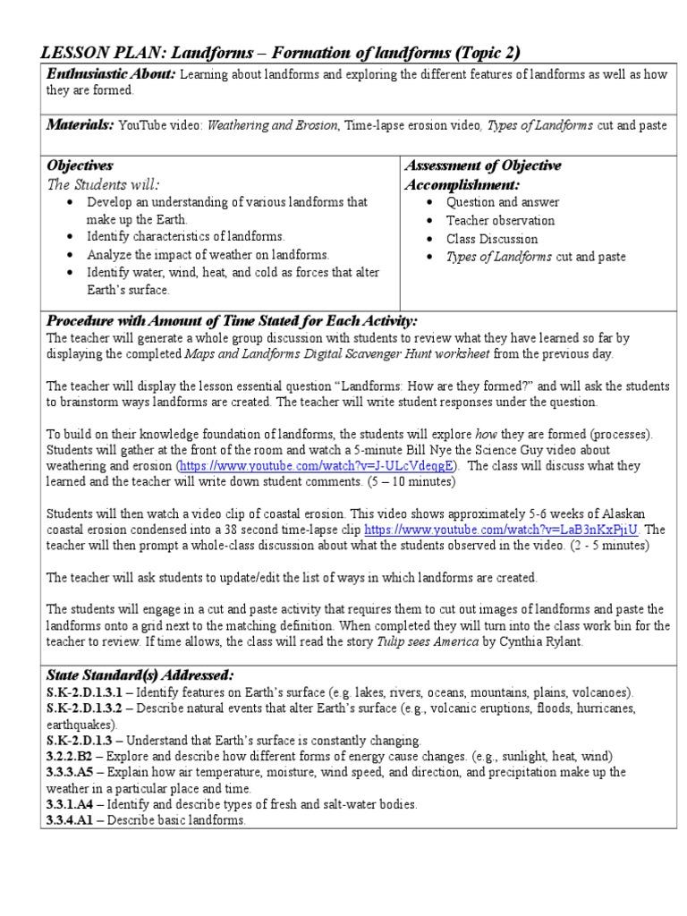 worksheet Bill Nye Video Worksheets d2 landforms formation volcano lesson plan