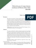 Pedro Castro Martínez, Educación Para El Campo Durante La Presidencia de Plutarco Elias Calles