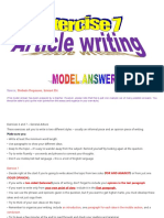 Esl Article Writing Sample Answers